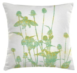 Experimenting with teasel from the meadow as a possible cushion print